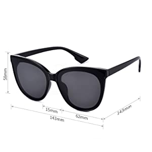Mosanana Classic Round Cateye Sunglasses for Women 2019 Trendy Style Dark Black Retro Vintage Cat Eye Stylish Designer Fashion Chic Sunnies Shade Mod 100% UV UVA UVB Protection 70 Thick Inspired Oval (Color: Black Frame/Black Lens, Tamaño: Medium)