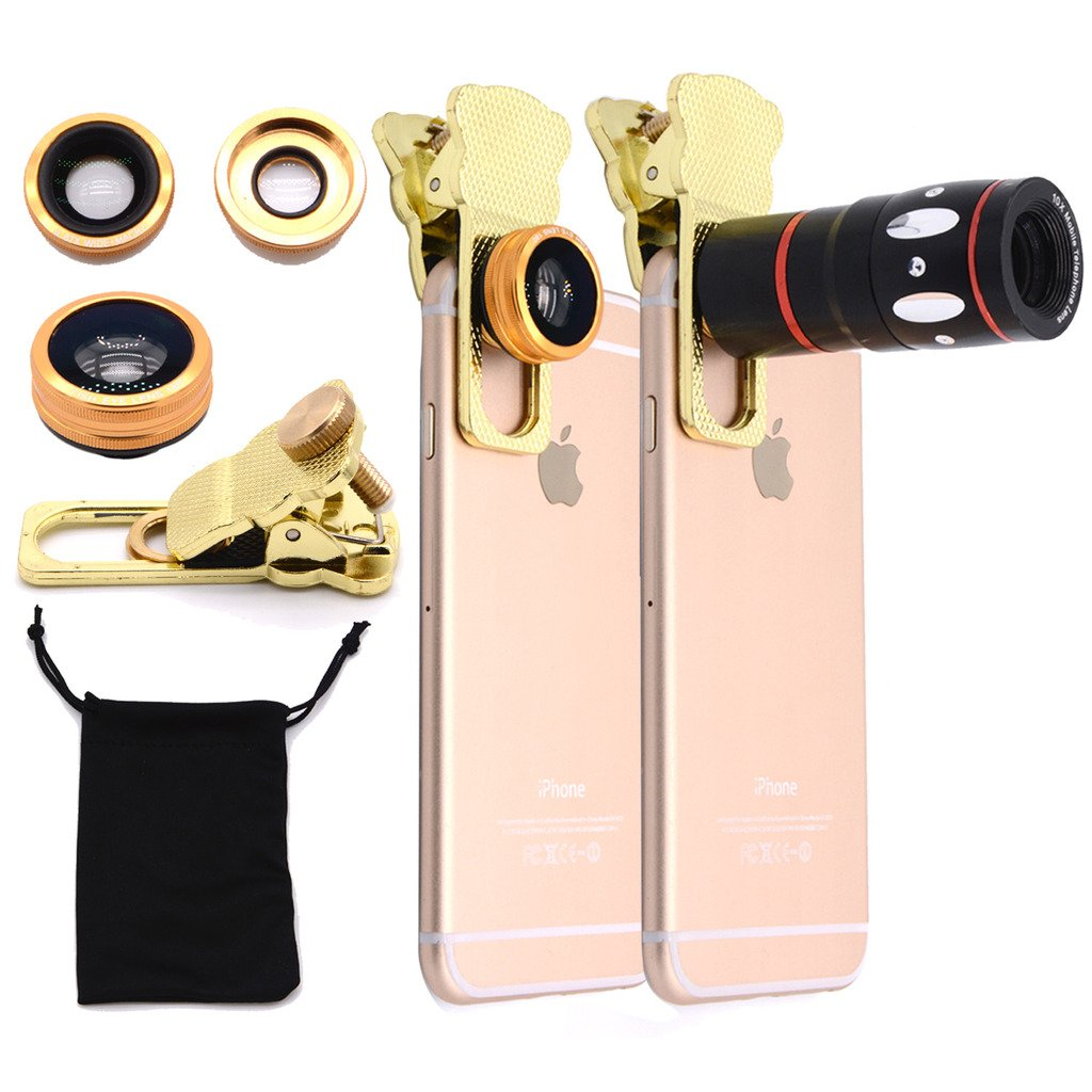 EtryBest(TM) 4 in 1 Universal Clip on Cell Phone Camera Lens Kit - 10X Optical Zoom Telescope Lens / Fish Eye Lens / 2 in 1 Macro Lens & Wide Angle Lens / Universal Clip with One Microfiber Carrying Bag for iPhone 6 Plus 5S 5C 4S, Samsung Galaxy S6 S5 S4, HTC and Other Smart Phones Tablets (Gold)