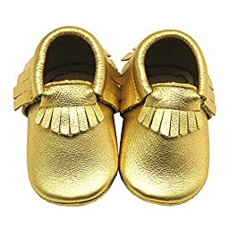Mejale Baby Genuine Leather Moccasin Soft Soled Gold Tassels Slip-on Infant Toddler Shoes Prewalkers