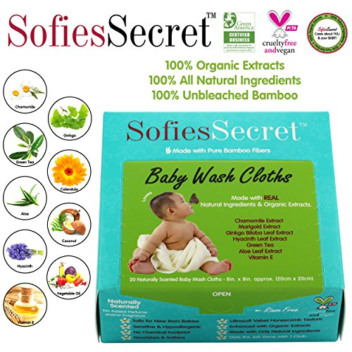 SofiesSecret Fragrance FREE Bamboo Baby Wipes, 100% Organic &Natural Ingredients, 20 Count, 8