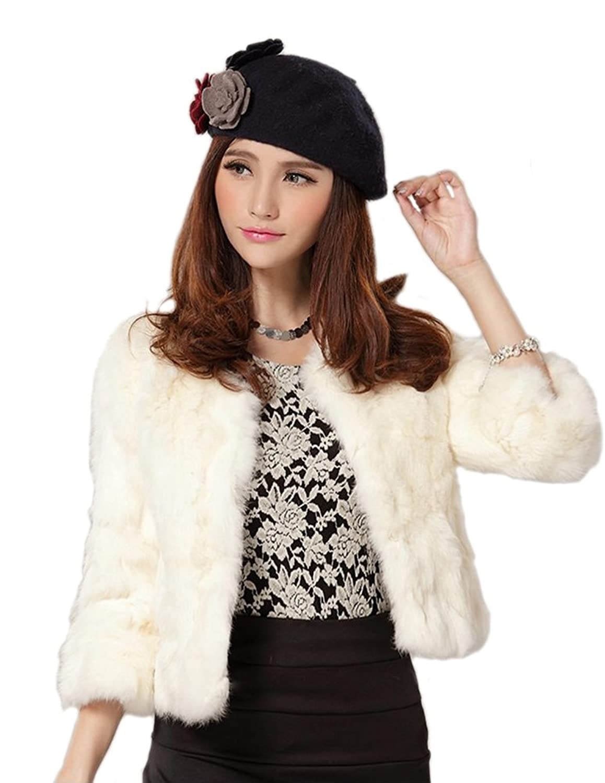 Senfloco Women's Elegant Solid Rex Rabbit Fur Coat Jacket 3 Quarter Sleeve 2017 winter new clothes to overcome the coat of women in the long reed rabbit hair fur fur coat fox raccoon fur collar