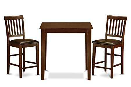 East West Furniture VERN3-MAH-LC 3-Piece Counter Height Dining Table Set