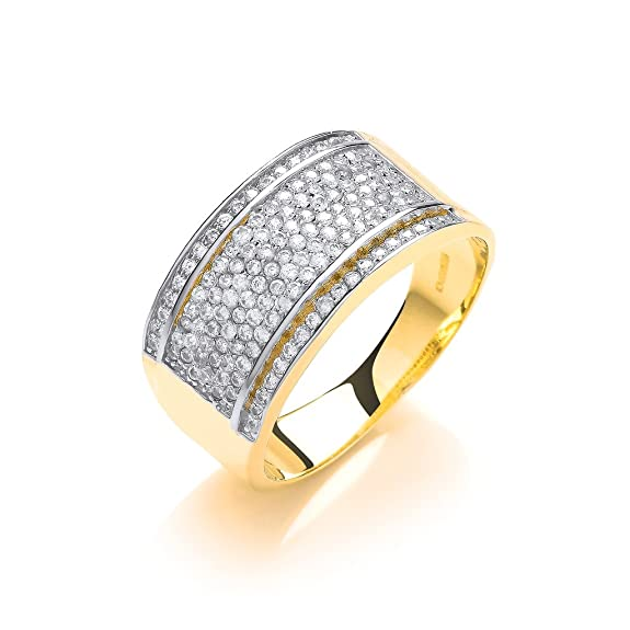 9ct Yellow Gold Ladies Bombay Clear Stone Ring