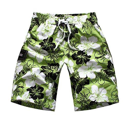 YoungSoul Uomo Sciolto Costume da Bagno Stampato Pantaloncini Bermuda Shorts - Verde,M