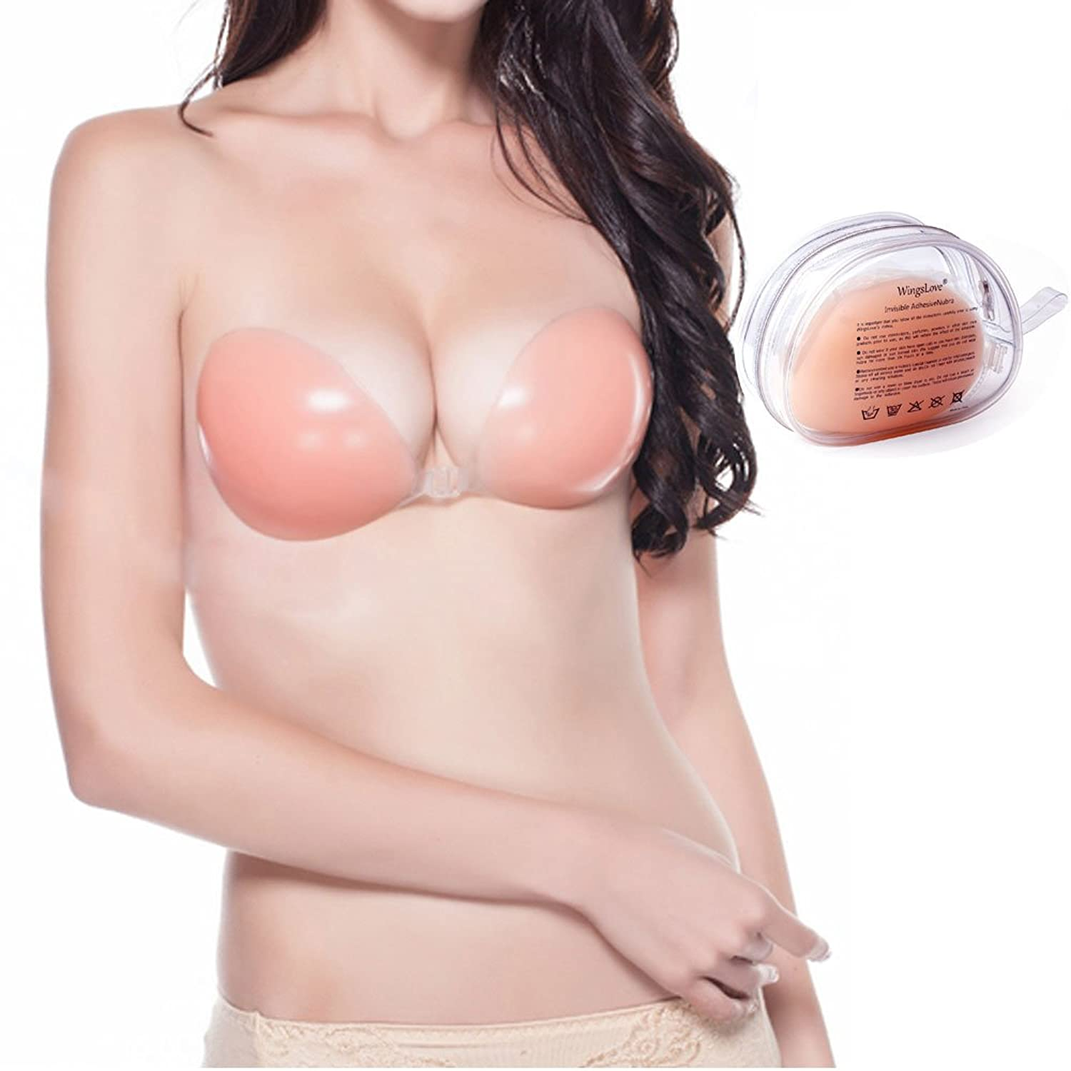 Reusable Strapless Self Adhesive Silicone Invisible Push-up Bra, Fashion Sexy Nubra