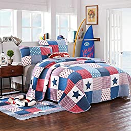 LELVA Kids Bedspreads Set Children\'s Patchwork Quilt Set Boys Comforter Set Twin Full (Full)