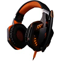 Leship Over-Ear USB Wired Gaming Headphones ( Black & Orange)
