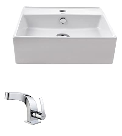 Kraus C-KCV-150-15101CH White Square Ceramic Sink and Typhon Basin Faucet Chrome