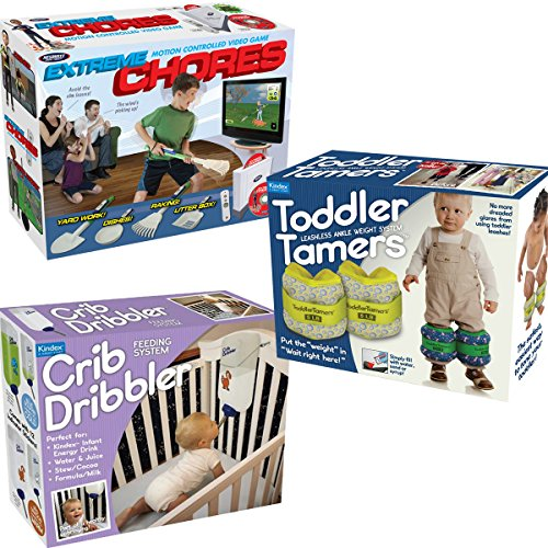 Prank Pack Kids - 3 Funny Gag Gift Boxes - Crib Dribbler - Extreme Chores - Toddler Tamers (Griddle Tamer compare prices)