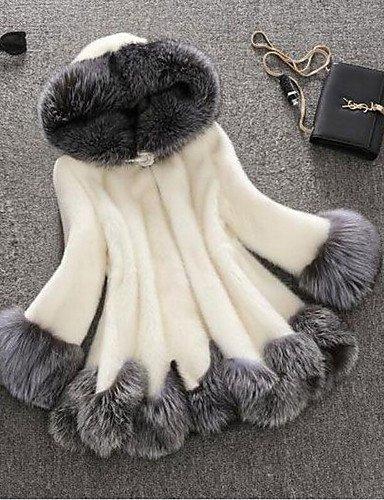 GA&GA Cappotto di pelliccia Da donna Casual / Taglie forti Autunno / Inverno Sofisticato,Monocolore Con cappuccioPelliccia sintetica / , black , 4xl