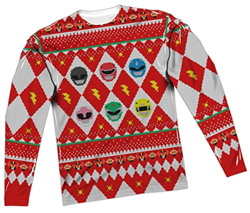 Ugly christmas sweater power rangers all over long for Over the top ugly christmas sweaters