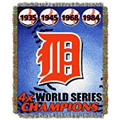MLB Detroit Tigers Commemorative Acrylic Tapestry Throw Blanket by Northwest