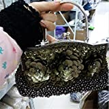 2016 New Womens Beading Evening Bags Elegant Ladies Handbags Sequined Party Wedding Purses Handmade Flowers Day Clutches (Ore green)