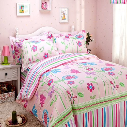 FADFAY Home Textile,Elegant Colorful Rainbow Bed Sheet Set,Romantic American Rustic Floral Bedding Set,Delicate Butterfly Girls Quilt Cover Bedding Set