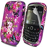 Classic Flower Butterfly Design - Silicone Gel TPU Mobile Phone Case Cover For BlackBerry Curve 8520 + Clear Screen Film Protector Proctector / Purple