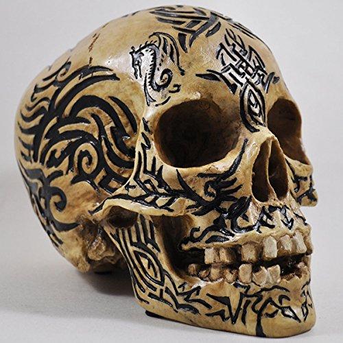 Teschio tribale celtico Ornament 15cm. Gotico Alternative Heavy Bone Scultura