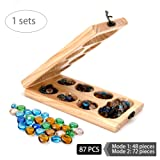 Mancala Board Games for Kids, Classic Sungka Game for Teens, Best Adult Travel Folding Wood Game Set with Pieces Marble Chess, Popular Family Educational Wooden Retro Stones Boards Table Games Sets