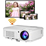 Wireless Android 3200 Lumens Video Projector HD LED LCD Multimedia WXGA Home Wifi Projector Smart Movie Game TV Phone Mac Proyector 1080P Airplay Miracast HDMI USB VGA AV TV Audio Built-in Speakers