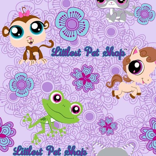 """""""Perky Pet"""" Littlest Pet Shop on Lavender Cotton Fabric (Great for Quilting, Sewing, Craft Projects, Quilts, Throw Pillows & More) 1 Yard X 44"""" Wide"""