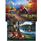 2 Pack 5D DIY Diamond Painting Set Full Drill Arts Crafts Wall Stickers For Living Room Village Farm(12X18 inches)Village River(12X16 inches)