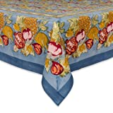 Couleur Nature 71-inches by 106-inches Tutti Frutti Tablecloth, Blue/Red