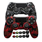 COOCODE PS4 Controller Skin Grip Anti-Slip Silicone Cover Protector Case for Sony DualShock 4 PS4/PS4 Slim/PS4 Pro Controller with 10 Thumb Grips (Red Camo+Urban Camo) (Color: Red Camo+Urban Camo)