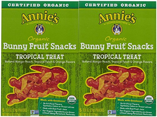 Annie's Homegrown Organic Bunny Fruit Snacks Tropical Treat - 5 CT - 1