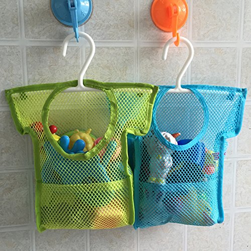 Cindy&Will 1Pce Small Sturdy Bath Toy Stroller Organizer/Holder/Contanier/Bag/Shower Caddy/Storage Basket With 4 Strong Hooked Suction Cups(Random Color)