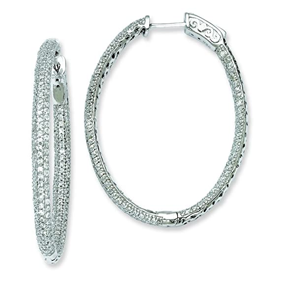 Sterling Silver Rhodium Plated With CZ Hinged Oval Hoop Earrings