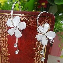 Hawaiian Plumeria Flower Dangle Earrings Pink