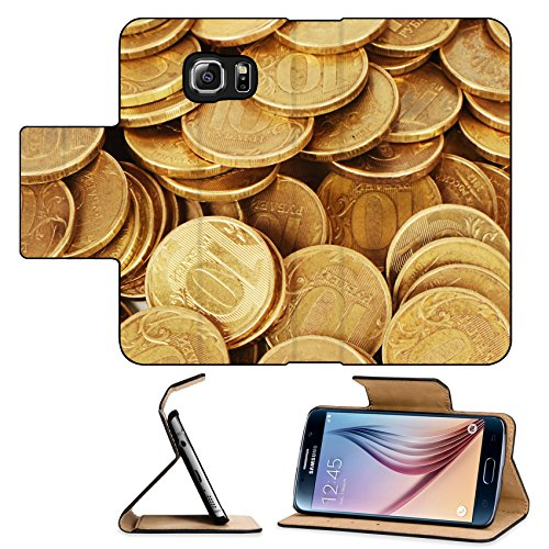 Luxlady Premium Samsung Galaxy S6 Flip Pu Leather Wallet Case Gold money stack close up Business concept IMAGE 35646390