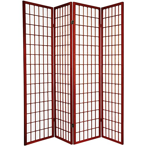 4 panel cherry finish room divider shoji screen