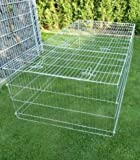 BUNNY BUSINESS Rabbit/Guinea Enclosure with Roof Galvanised and Sunshade 144 cm x 116 cm x 58 cm