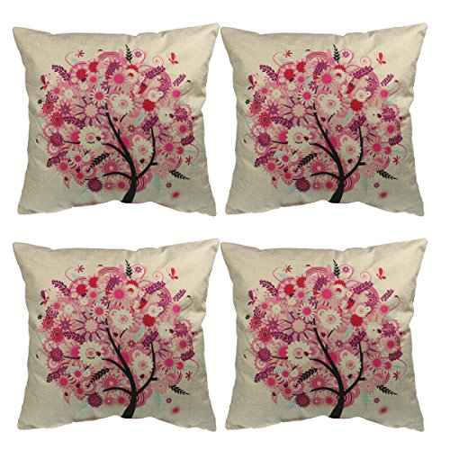 Luxbon 4er Set Lebensbaum Jahreszeit Baum Leinen Kissenbezug Kissenhülle Sofakissen Pillowcase Haus Auto Deko 18 x 18 '' Pink