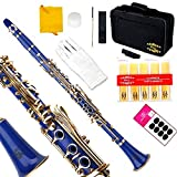 Glory B Flat Clarinet with Second Barrel, 11reeds,8 Pads cushions,case,carekit and more -Blue with Gold keys
