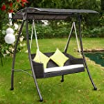 Outsunny Garden Rattan Swing Chair Ou...