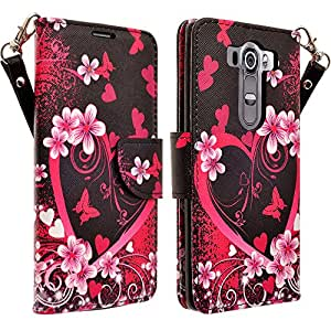 LG V10 Case, LG V10 Wallet Case (TMOBILE/VERIZON/AT&T) - Magnetic PU Leather Flip Wallet Folio Pouch Case Cover With Kickstand Feature and Detachable Wrist Strip For LG V10 - Hot Pink Heart Sensation