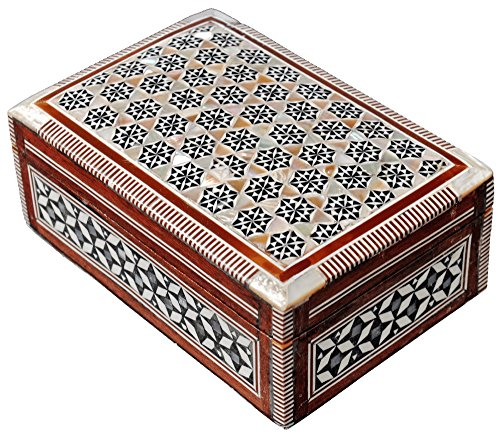 Egyptian Mosaic Jewelry Trinket Box Mother of Pearl BX5