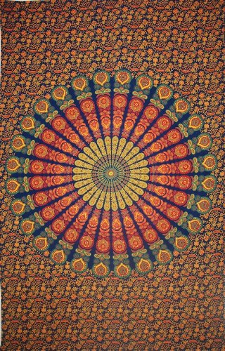 Sanganer Peacock Mandala Tapestry Throw Tablecloth Bedspread Full Gorgeous