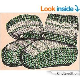 Infants Slipper Socks Knitting Pattern Baby Vintage Knit Booties EBook D...
