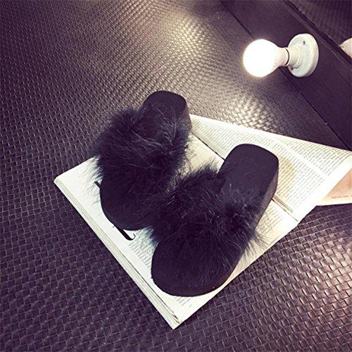 JIAJIA Pizzichi di tacchi alti flip pendio Infradito donna con piume di struzzo con la suola spessa piattaforma scarpe pantofole pantofole da casa 2 3 4 5 6 7 8 9 10 11 12 35 36 37 38 39 40 41 , black , 36