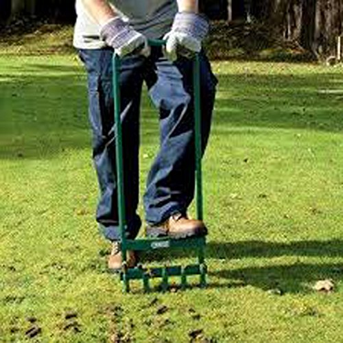 "ALEKO LA01 35.5"" X 11"" Steel Hollow Tine Green Lawn Aerator With 5 Tines"