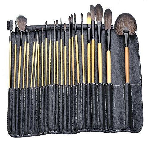 Yihya 24 Pcs Professionale Fondazione Polvere Pennello da Trucco Spazzole Kit Sopracciglio Ombra Lip Blush Pennelli Cosmetico Make Up Brushes Kit Manico in Legno set con il Sacchetto -