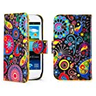 32nd® Designer book wallet PU leather case cover for Samsung Galaxy S3 Mini (S iii Mini) i8190 + screen protector and cloth - Jellyfish