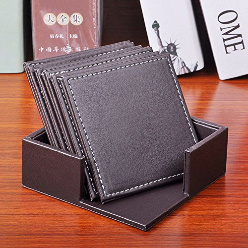 Tmarton 1 Set of 6PCS Coffee Square Double Deck Leather Drink Coasters Placemat Coffee Mugs Tea Cup Mat Table Insulation Mat with Holder