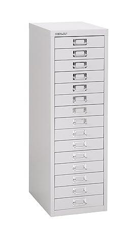 Bisley - Mueble con 15 cajones, color plata