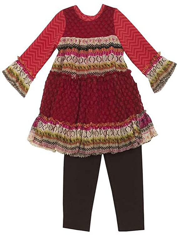 Rare Editions Little Girls Red Autumn 2pc Legging Set