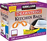 Kirkland Signature 13 Gallon 200 Ct Carton 100% recyclable Heavy Duty Drawstring Kitchen Trash Bags Garbage Bag ,White