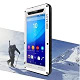 Sony Xperia M5 Water Resistant Case, X-FASH Heavy Duty Full Body Protective Shock/Snow/Dust Proof Aluminum Metal Rugged Bumper Cover with Gorillas Glass Screen Protector for Sony Xperia M5 (White) (Color: White, Tamaño: For Sony Xperia M5)