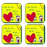 MeSleep Brother & Sister Wooden Coaster-Set Of 4